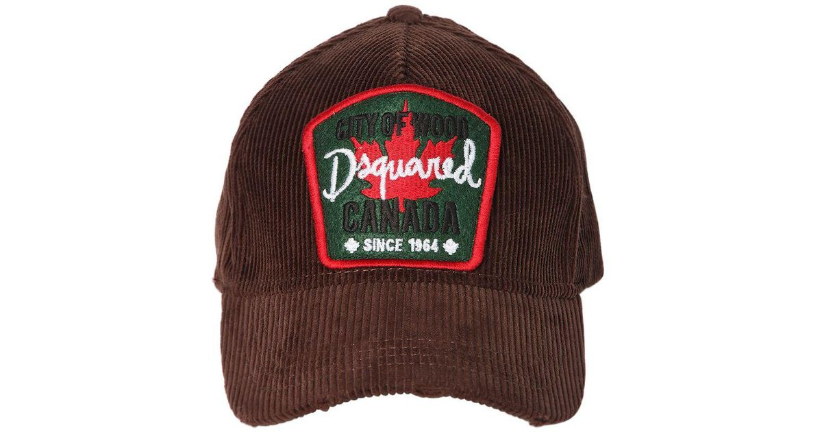141beb29b37 Dsquared² Canada Patch Corduroy Baseball Hat in Brown for Men - Lyst