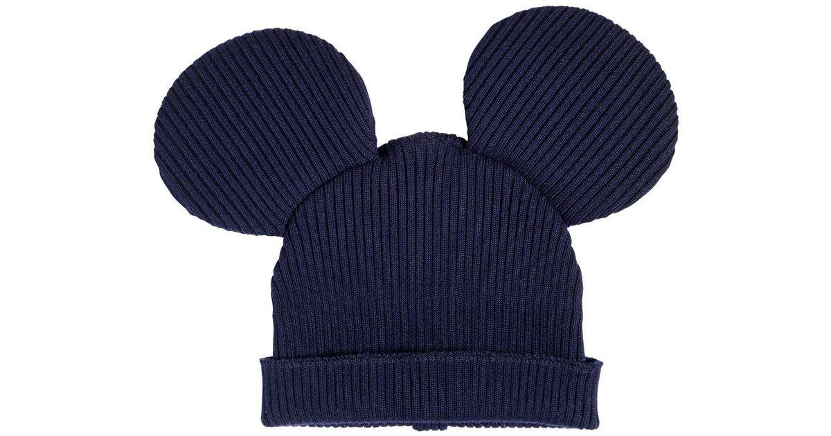 Lyst - Comme des Garçons Mouse Ears Wool Blend Rib Knit Beanie in Blue for  Men 06f7e711fd1c