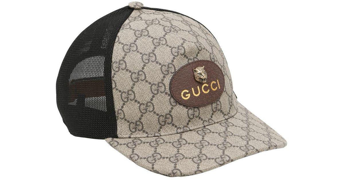 Lyst - Gucci Coated Original Gg Tiger Trucker Hat for Men ec3b6b103d8