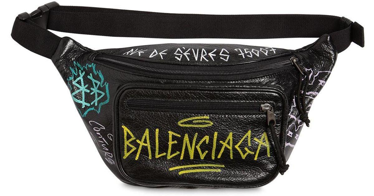 645e0e1b513b Balenciaga Graffiti Printed Leather Belt Pack in Black for Men - Lyst