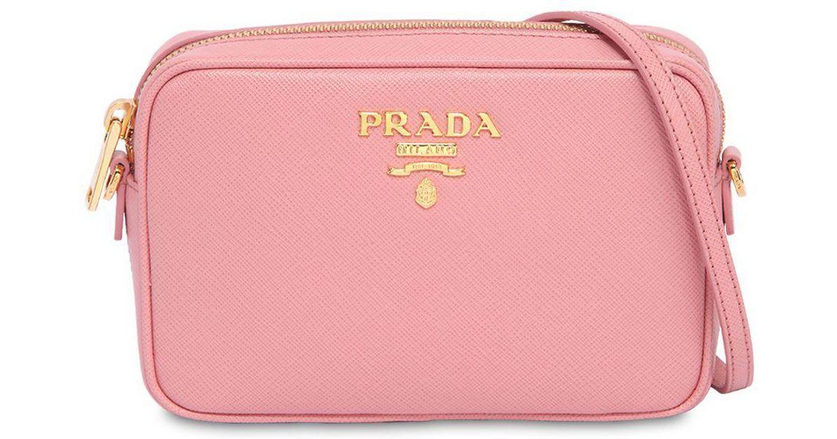 6017cc228de3 Prada Saffiano Leather Camera Bag in Pink - Lyst