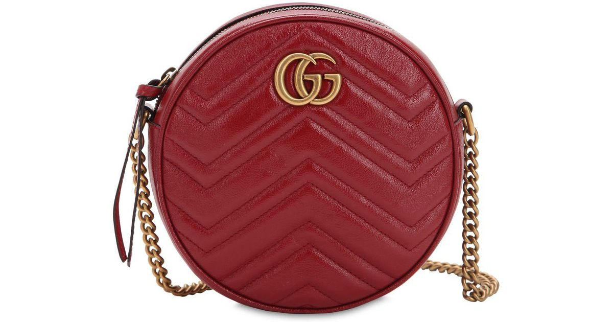 7349744405153 Lyst - Gucci Mini Circle Gg Marmont Leather Bag in Red