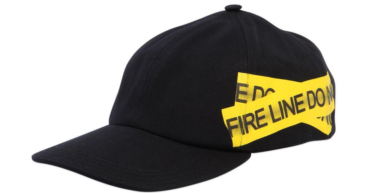 7ed5ed5f87a Lyst - Off-White c o Virgil Abloh Fire Line Tape Canvas Baseball Hat in Black  for Men