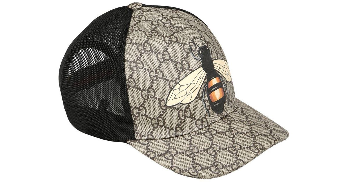 Lyst - Gucci Bee Coated Gg Canvas   Mesh Trucker Hat in Natural for Men d41a6fa0e72
