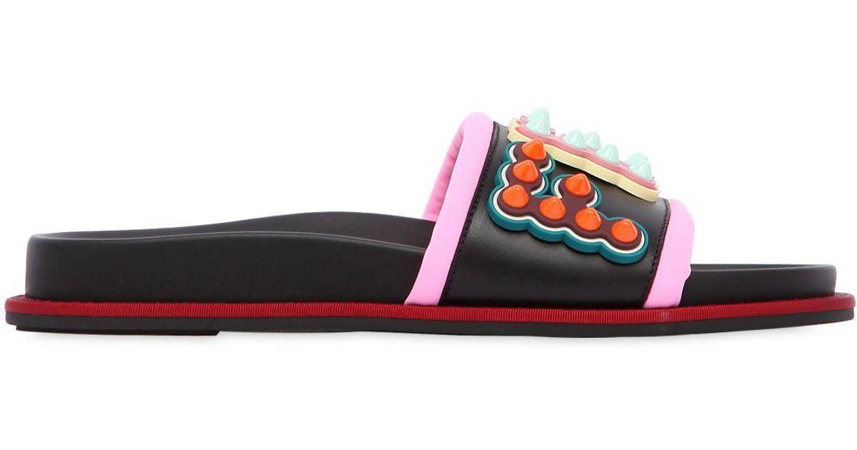 c4043ceef12 Lyst - Fendi 20mm Studded Logo Leather Slide Sandals in Black