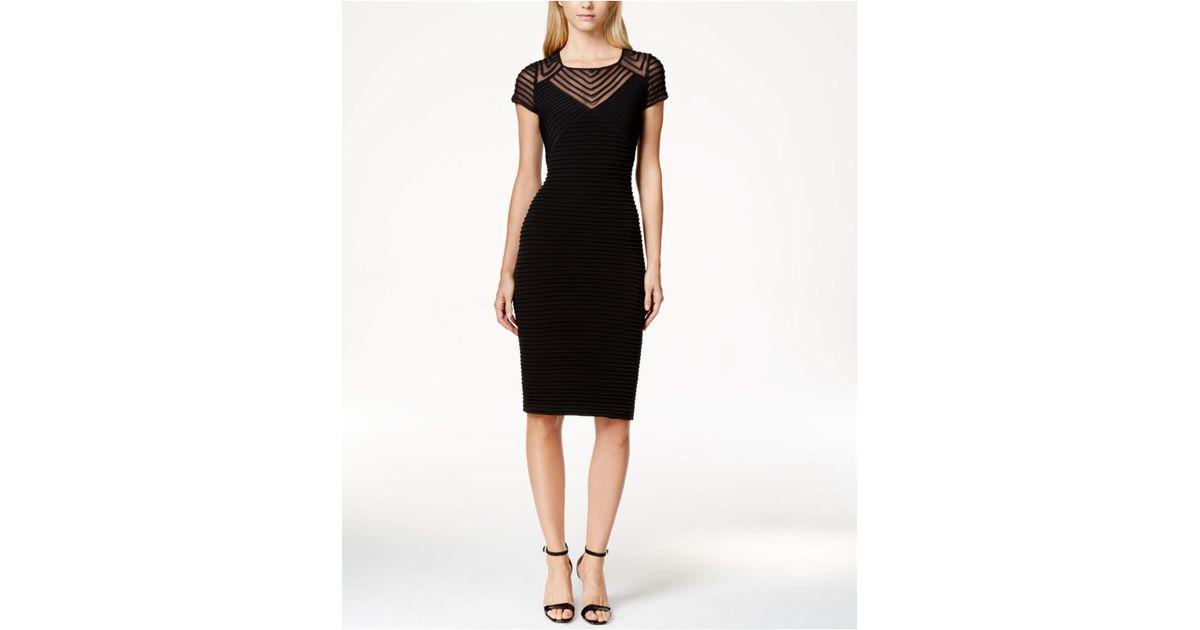 Lyst Calvin Klein Petite Cap Sleeve Sheath Dress In Black Save 16