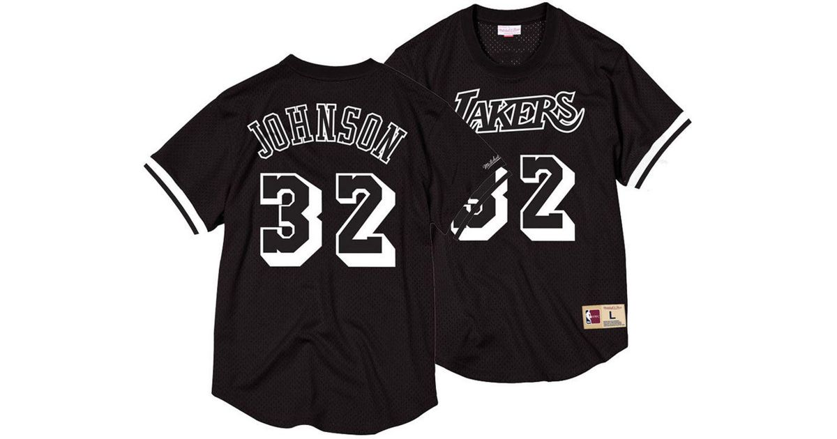 856b2f48a Mitchell   Ness Magic Johnson Los Angeles Lakers Black   White Mesh Name  And Number Crew Neck Jersey in Black for Men - Lyst