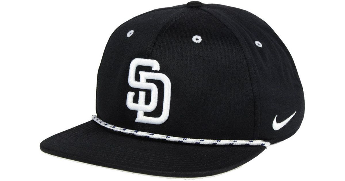 quality design 44952 ee3e7 Nike San Diego Padres String Bill Snapback Cap in Black for Men - Lyst