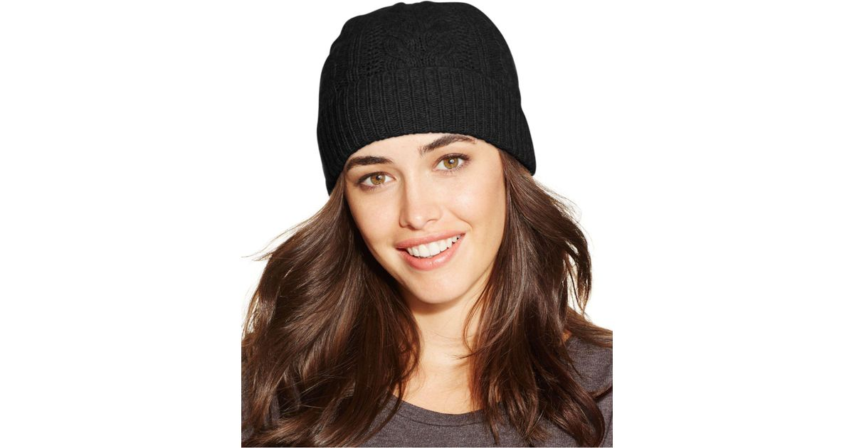 91abcbd506770 Lyst - Charter Club Cable Cashmere Cuff Hat
