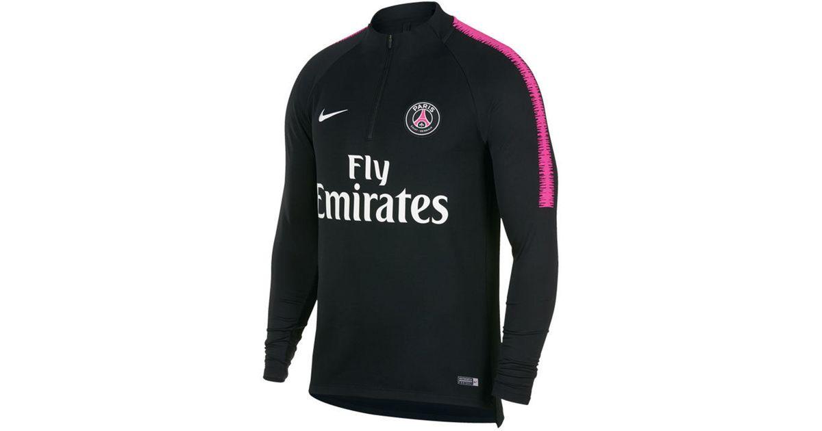 9e53236fb Nike Paris Saint-germain Club Team Dry Squad Drill Top in Black for Men -  Lyst