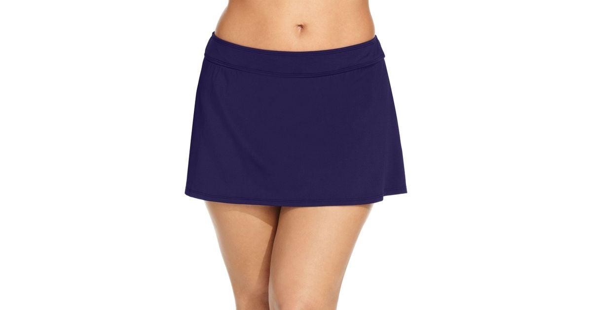cole plus size swim skirt in blue lyst