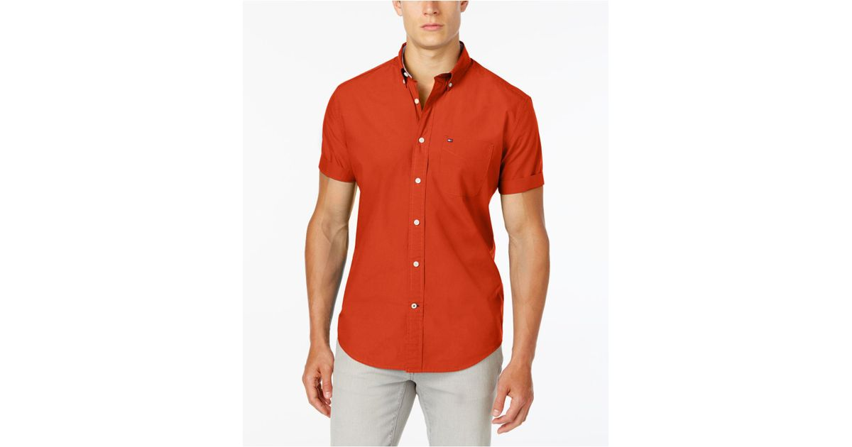 af6846f6c06c Lyst - Tommy Hilfiger Maxwell Short-sleeve Button-down Shirt in Red for Men