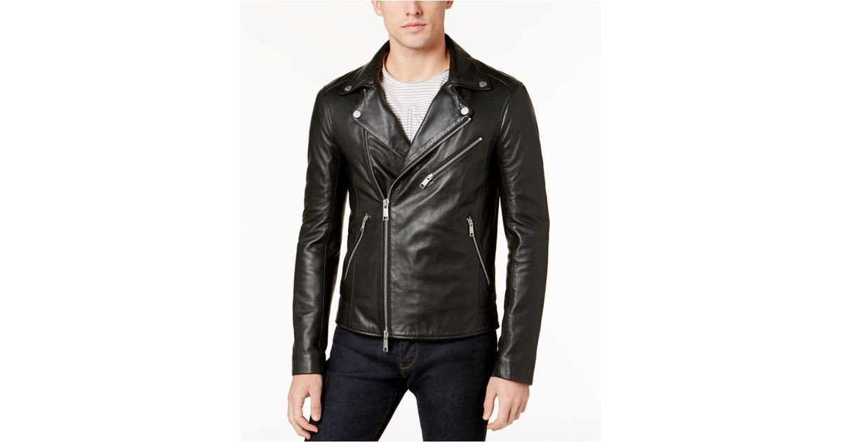e03849026 Armani Exchange - Black Men's Leather Moto Jacket for Men - Lyst