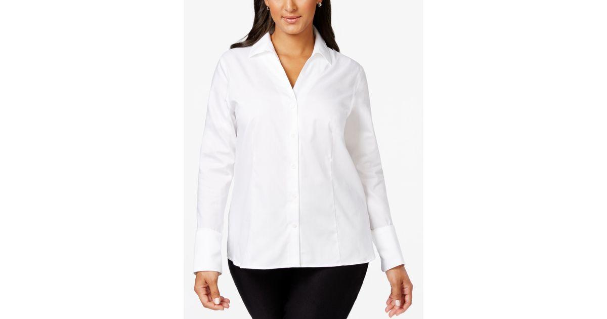 Calvin klein plus size no iron button down shirt in white for No iron white shirt womens