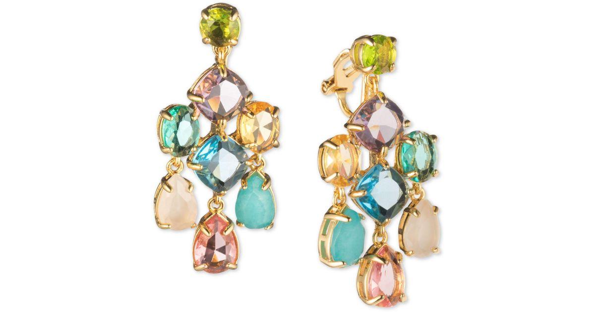 Lyst Carolee Gold Tone Multi Crystal Clip On Chandelier Earrings In Metallic