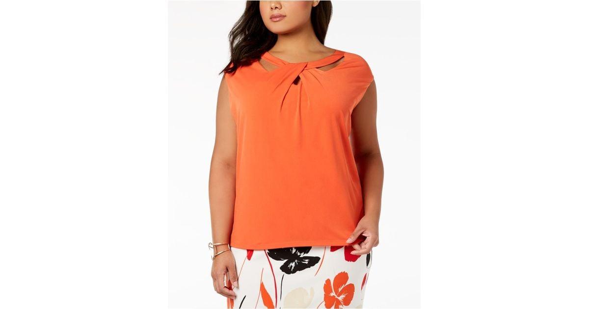 0fe701ff0cd Lyst - Kasper Plus Size Crossover Top in Orange