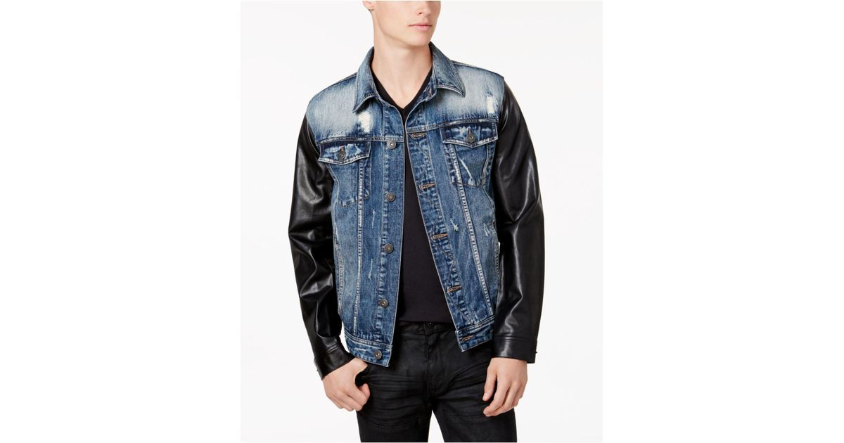 36741ff1d40 Lyst - INC International Concepts Men s Denim Jacket With Faux-leather  Sleeves in Blue for Men