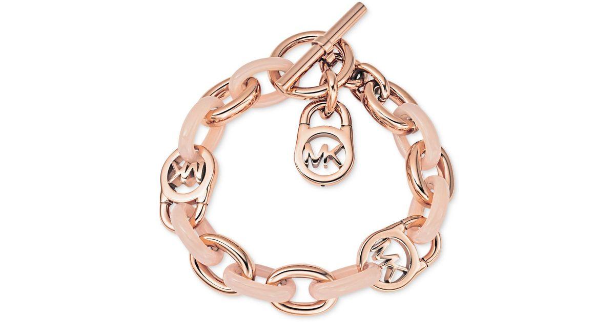 Lyst - Michael Kors Rose Gold-tone Fulton Toggle Bracelet in Pink cf25dc9d8f38