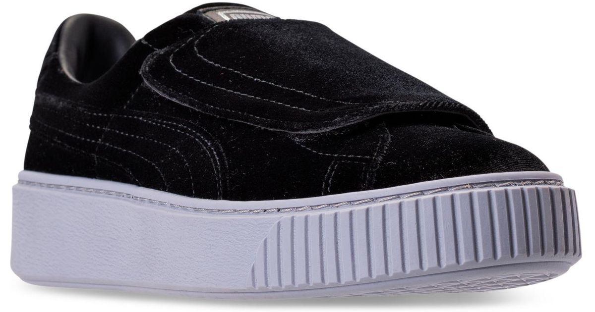 b43cf1008b04 Lyst - PUMA Women s Basket Platform Strap Velvet Rope Casual Sneakers From  Finish Line in Black - Save 34%