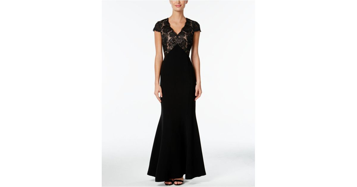 ae61cc78f44c CALVIN KLEIN 205W39NYC Sequined Lace Cap-sleeve Mermaid Gown in Black - Lyst