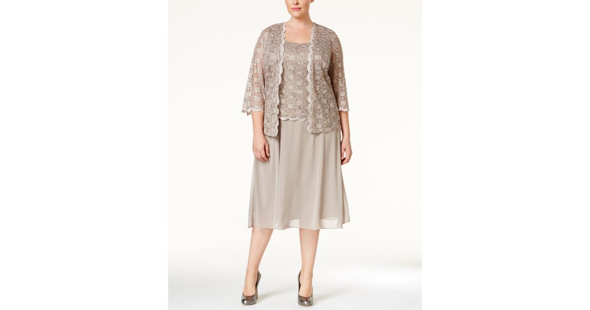 Rm Richards Plus Size Sequined Lace Dress And Jacket Purple
