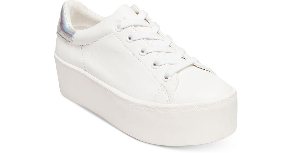 a3e6a0ded74 Lyst - Steve Madden Palmer Platform Lace-up Sneakers in White