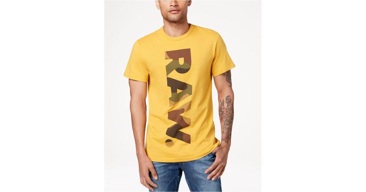 bd3d8b9c3f7 Lyst - G-Star RAW Daba Camouflage Logo-print T-shirt in Yellow for Men