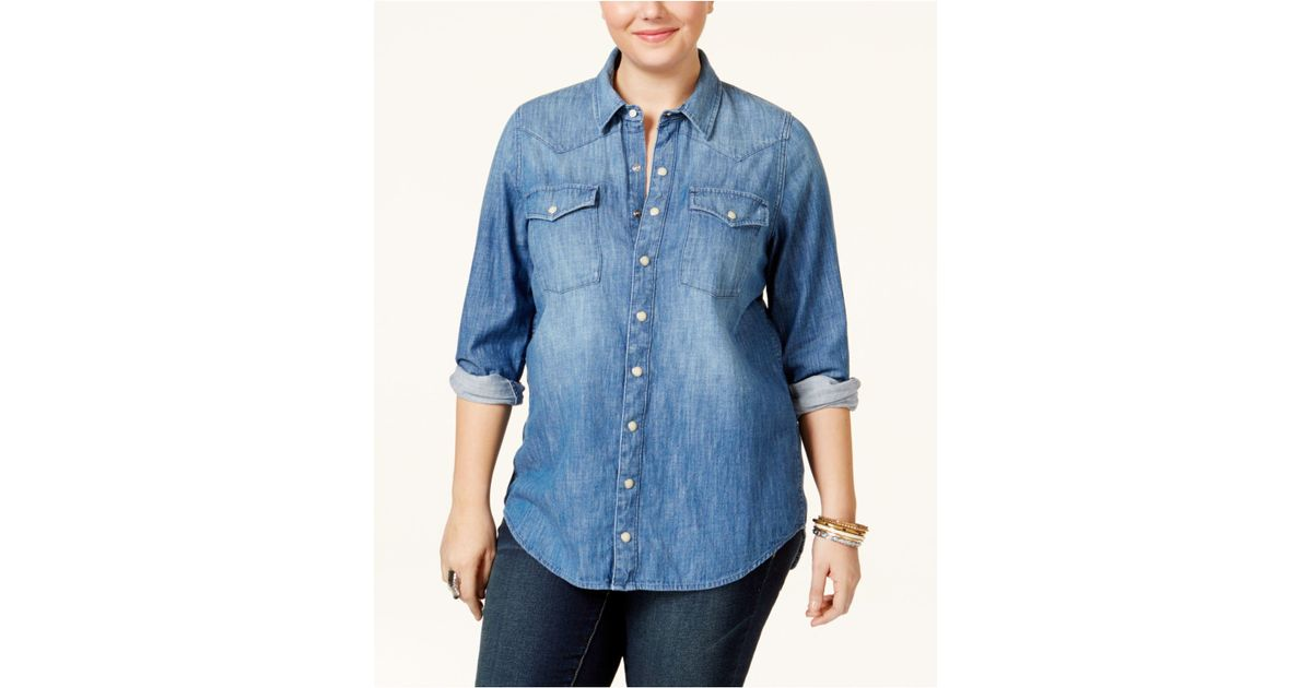 9c2c4482c61ad9 Lyst - Lucky Brand Plus Size Button-down Denim Shirt in Blue