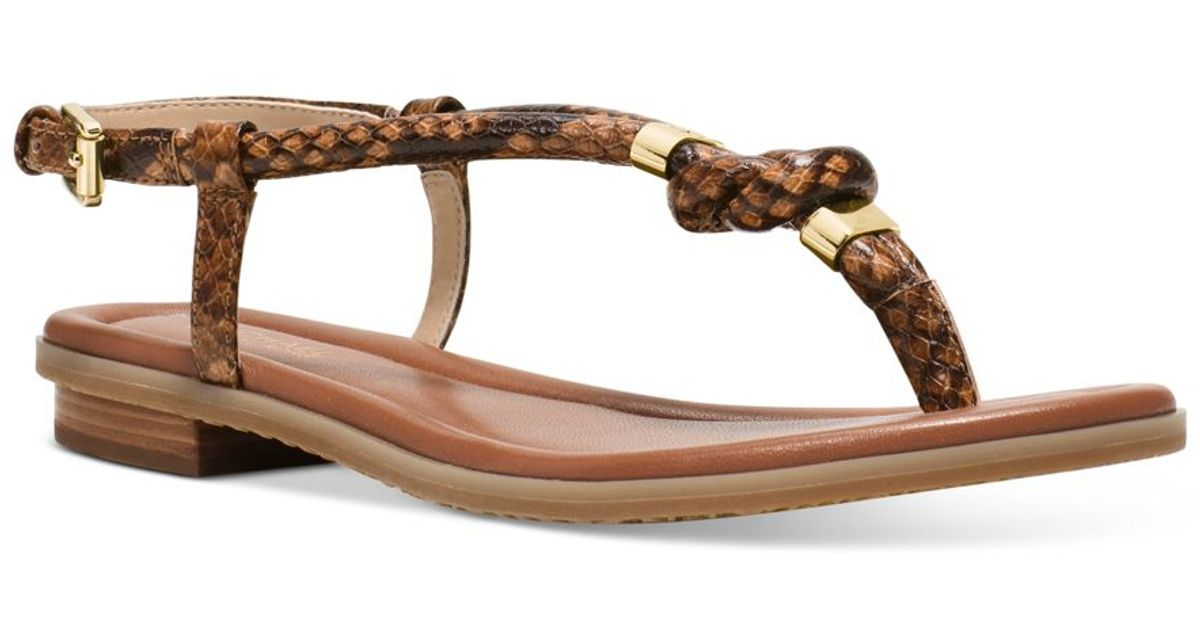 8367cb0e68b3 Lyst Michael Kors Michael Holly Flat Thong Sandals In Brown