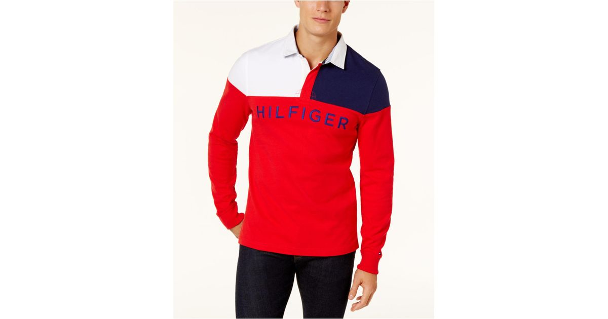 670f2a09749 Tommy Hilfiger Men's Harbor Rugby Shirt in Red for Men - Lyst