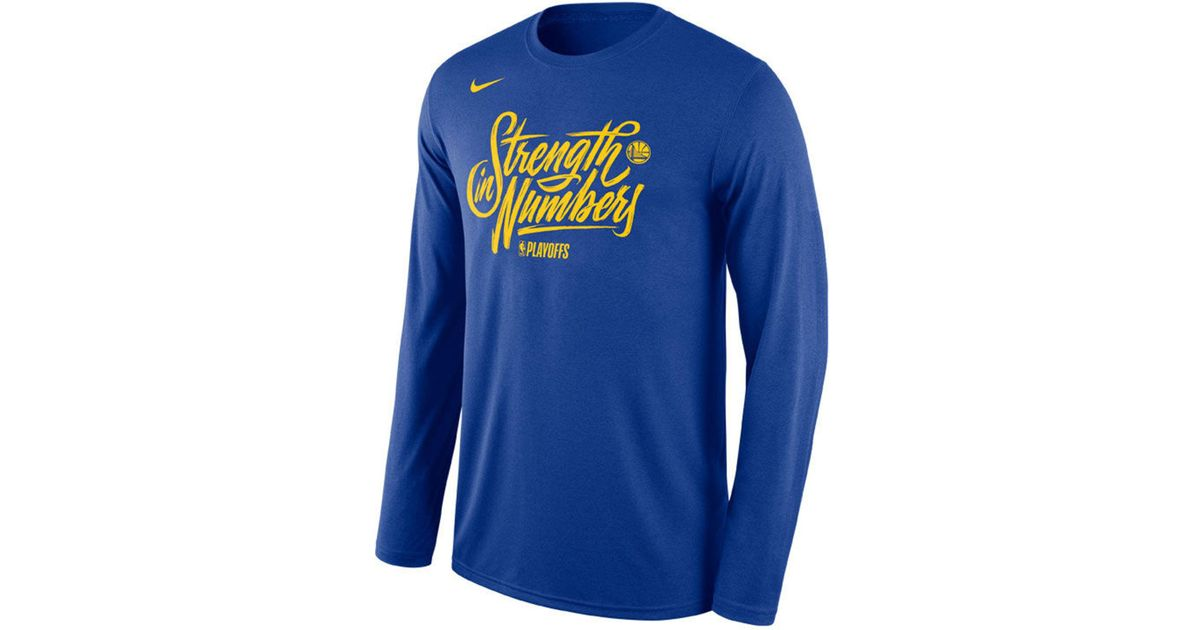 be10d0a52 Lyst - Nike Golden State Warriors Playoff Mantra Legend Long Sleeve T-shirt  in Blue for Men
