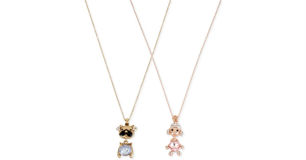 Betsey Johnson Gold Tone Crystal And Stone Dog Necklace