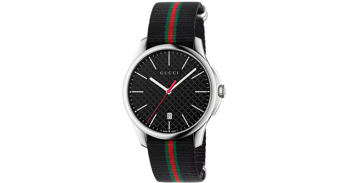 b10397dbf13 Lyst - Gucci Men s Swiss G-timeless Black Striped Nylon Nato Strap Watch  40mm Ya126321 for Men