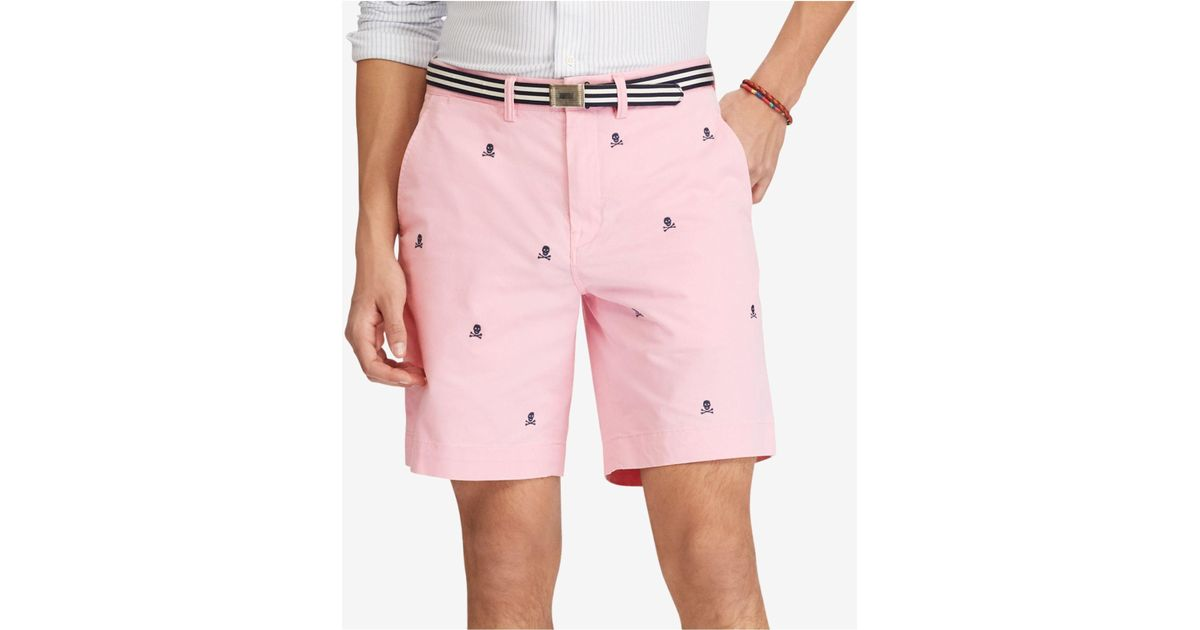 a3057d3a432d5 ... wholesale lyst polo ralph lauren stretch classic fit skull shorts in  pink for men 03185 f9ffd