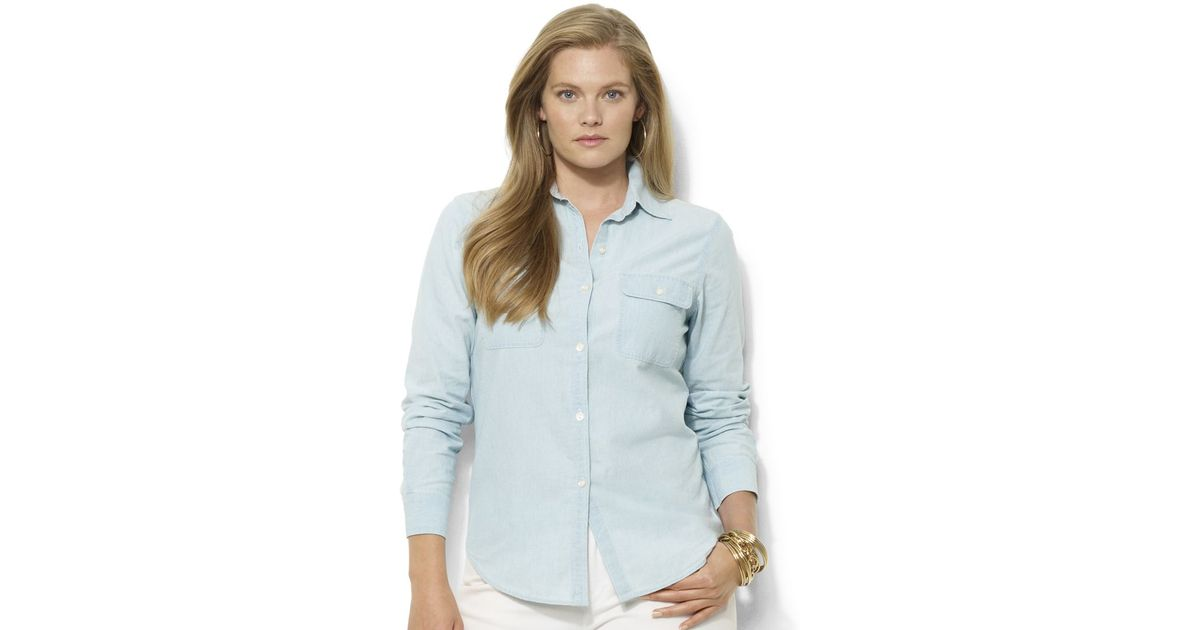 Lauren By Ralph Lauren Plus Size Chambray Shirt In Blue Lyst