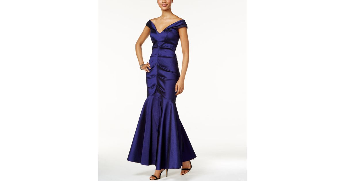 Xscape Off The Shoulder Ruched Mermaid Gown In Black Lyst