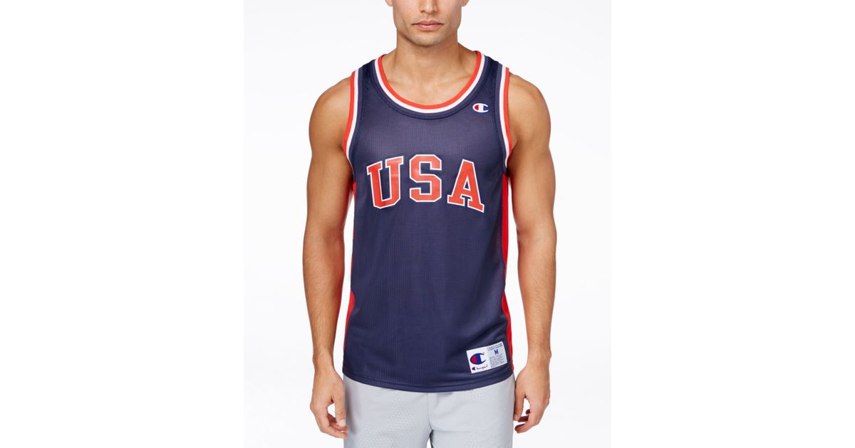 chion s usa mesh basketball jersey in blue for