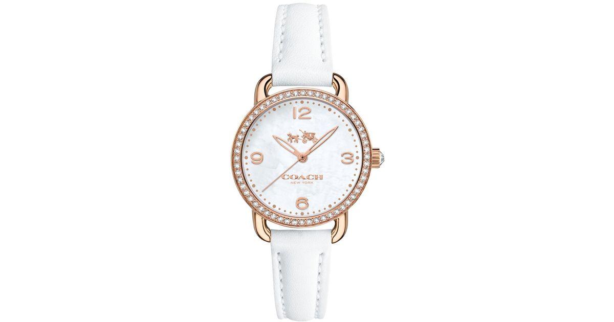 Coach Women S Delancey White Leather Strap Watch 28mm 14502453 In