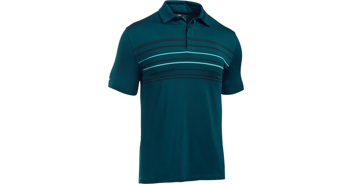 Under armour men 39 s coldblack stripe golf polo in green for for Teal under armour shirt