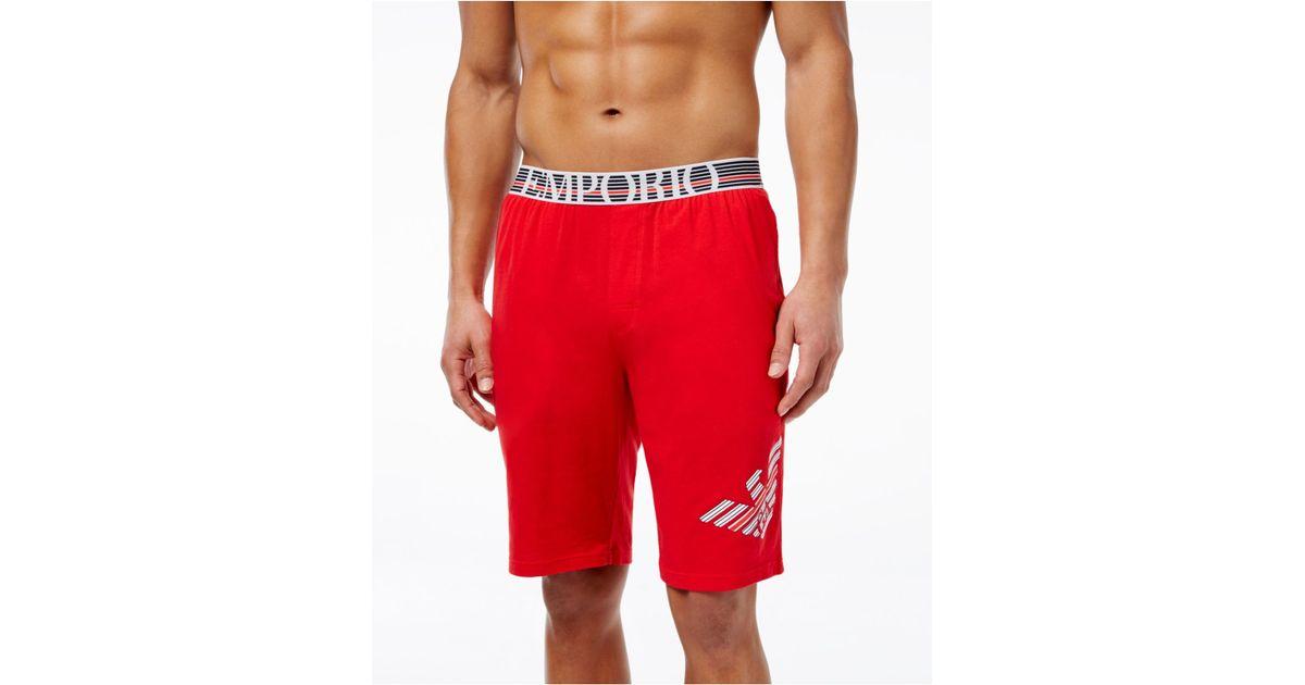 Emporio armani Menu0026#39;s Bermuda Shorts in Red for Men | Lyst