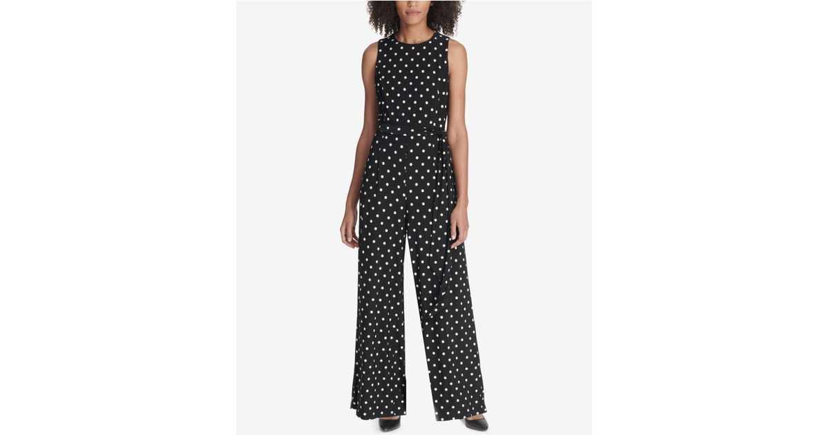 1bb3540a9fd Lyst - Tommy Hilfiger Belted Floral Printed Jumpsuit in Black - Save 36%