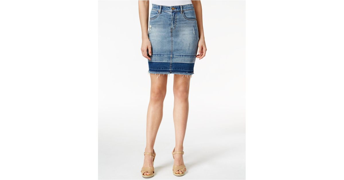 kut from the kloth distressed denim skirt in blue solid