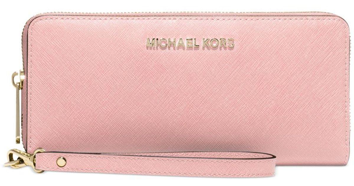8003a4d83576 Michael Kors Michael Jet Set Travel Continental Wallet in Pink - Lyst