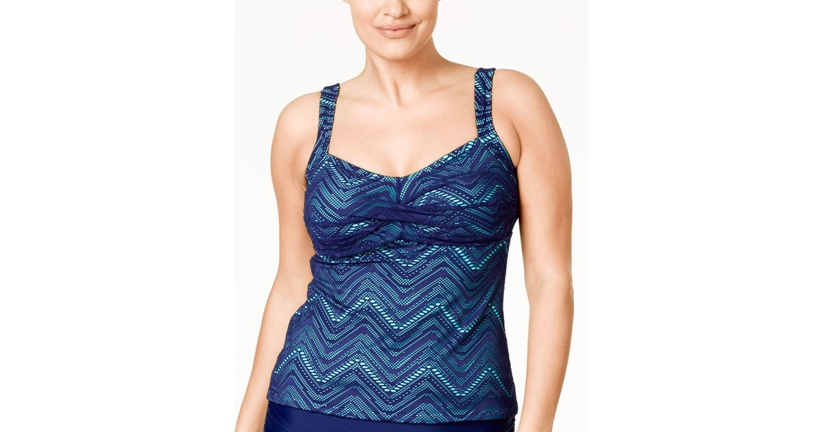 7a6fd01033c94 Lyst - Island Escape Plus Size Calypso Crochet Twist Tankini Top in Blue