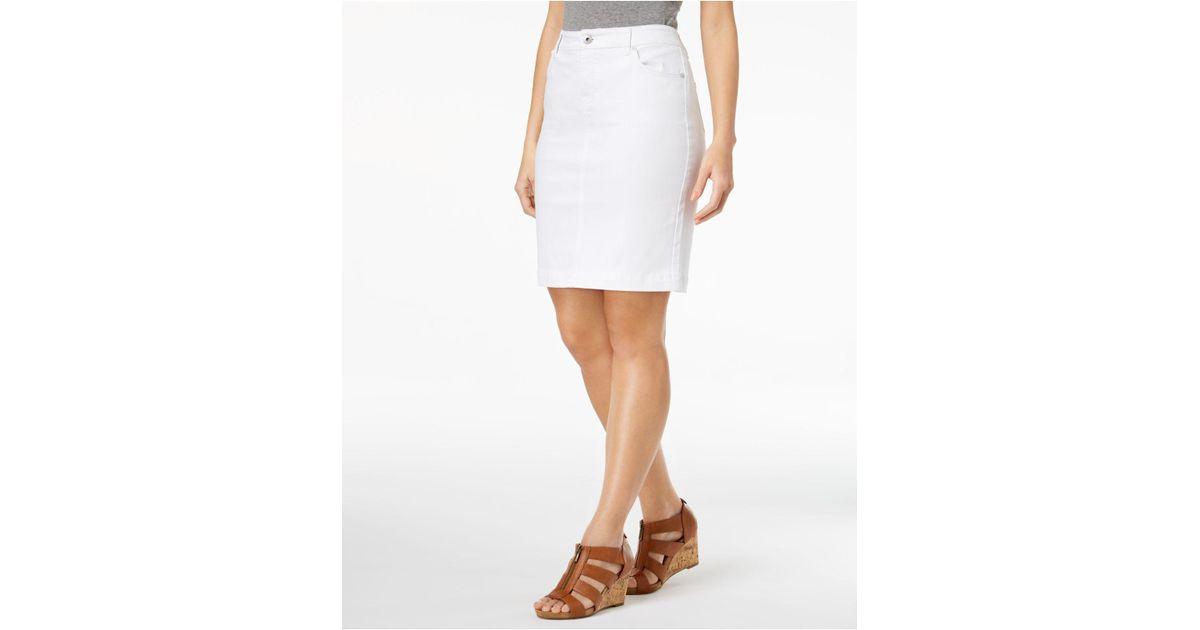 19842e14a Lyst - Style & Co. Petite 5-pocket Denim Skirt, Created For Macy's ...