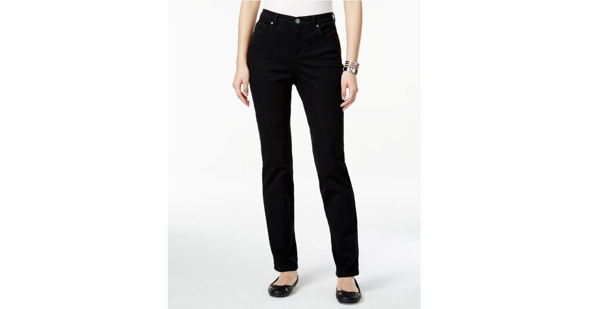 style co tummy control colored wash straight leg jeans only at macy 39 s in black save 39 lyst. Black Bedroom Furniture Sets. Home Design Ideas