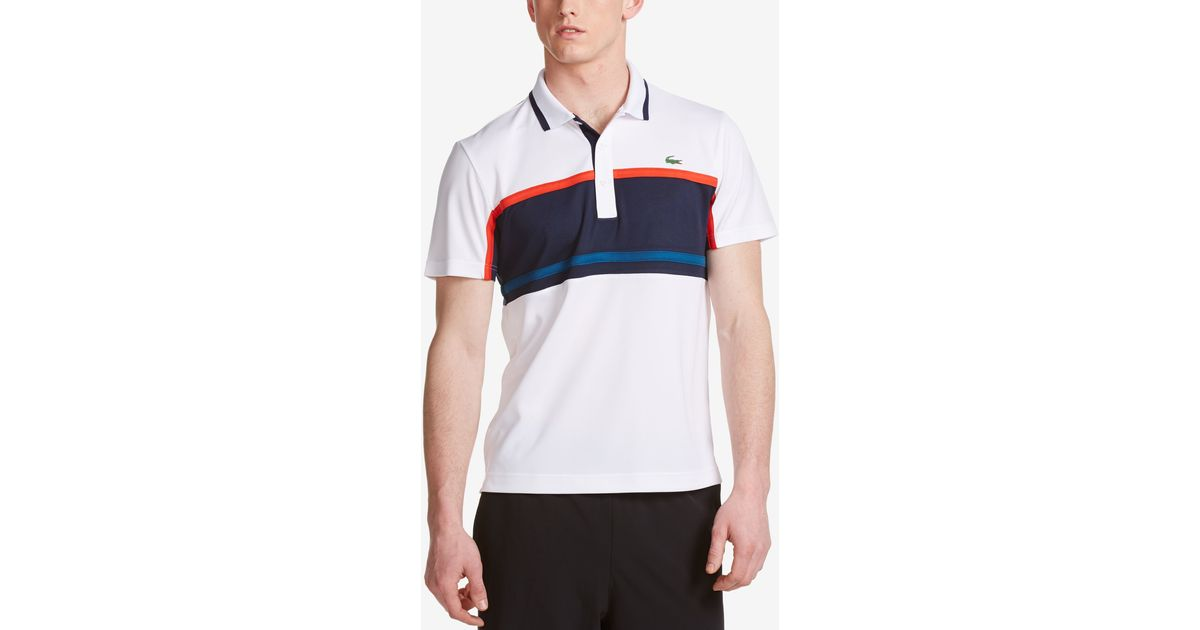 9ea2be16e Lyst - Lacoste Men s Sport Colorblocked Striped Ultra Dry Pique Polo in Blue  for Men