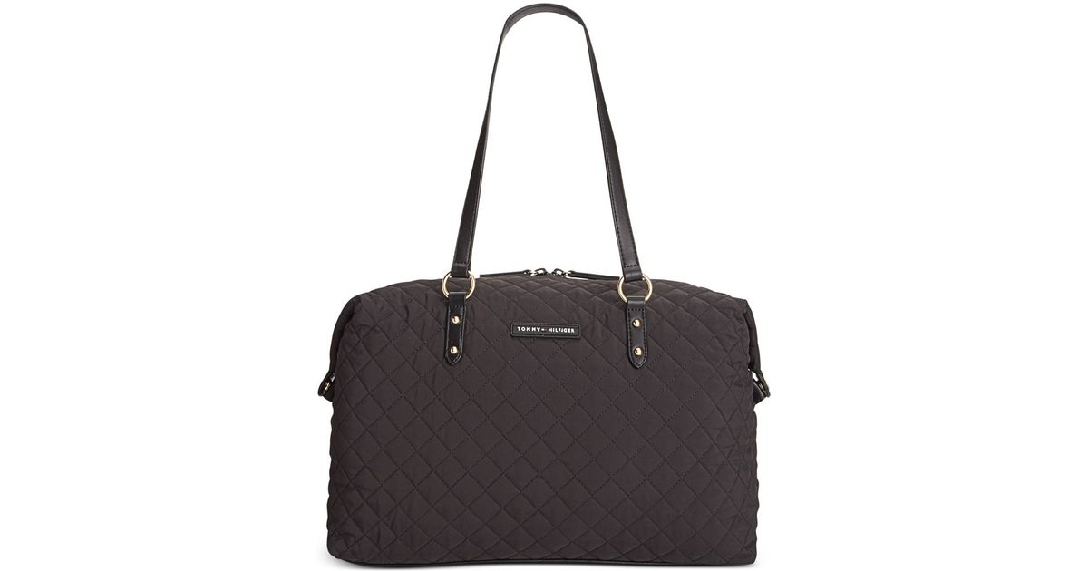 tommy hilfiger quilted nylon weekender tote in black lyst. Black Bedroom Furniture Sets. Home Design Ideas