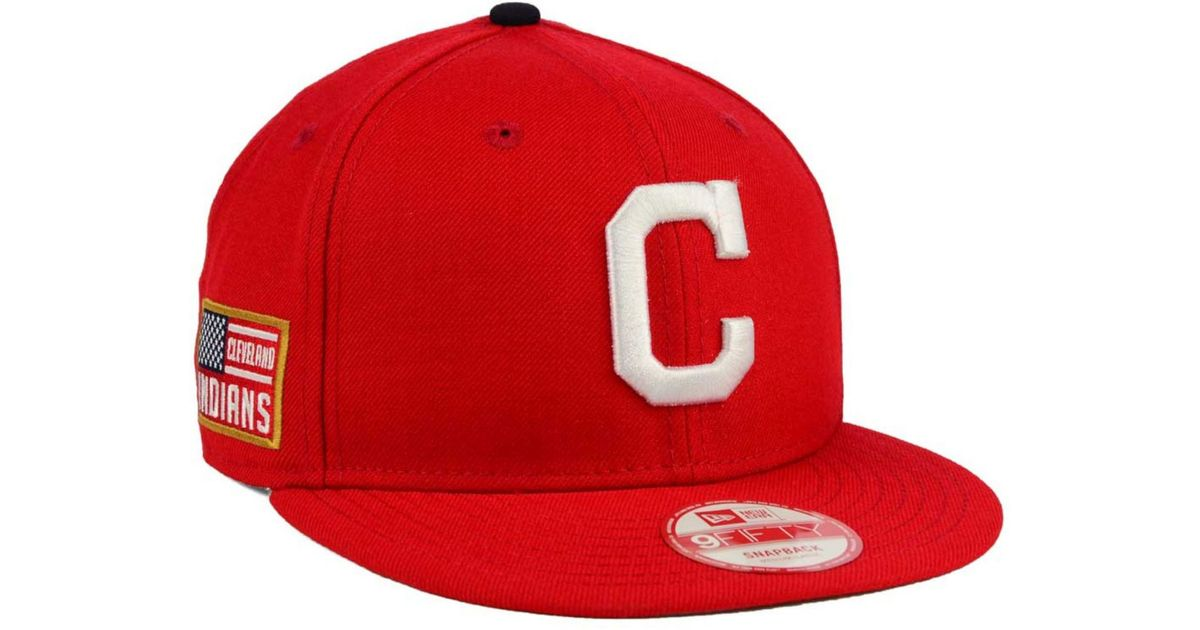 1d612e8b045 ... coupon code for lyst ktz cleveland indians all american patch 9fifty  snapback cap in red for