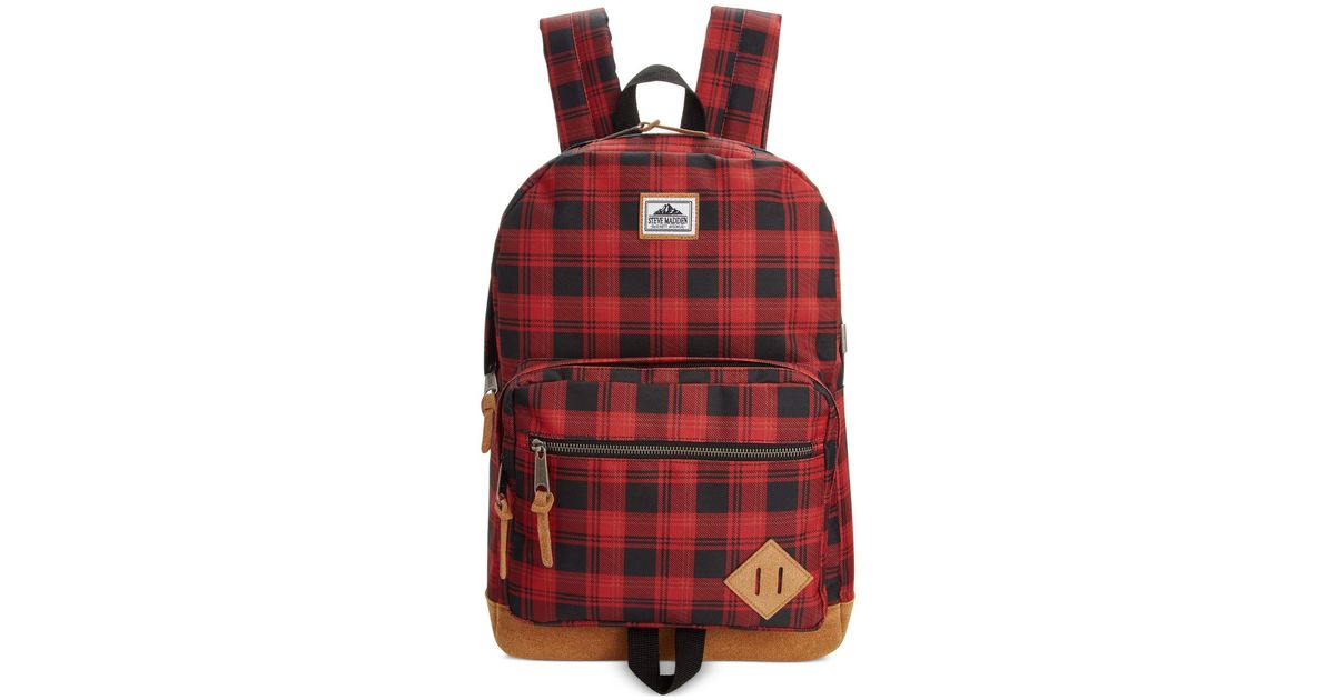 Lyst - Steve Madden Men s Buffalo Plaid Classic Backpack in Red for Men 93846aacca555